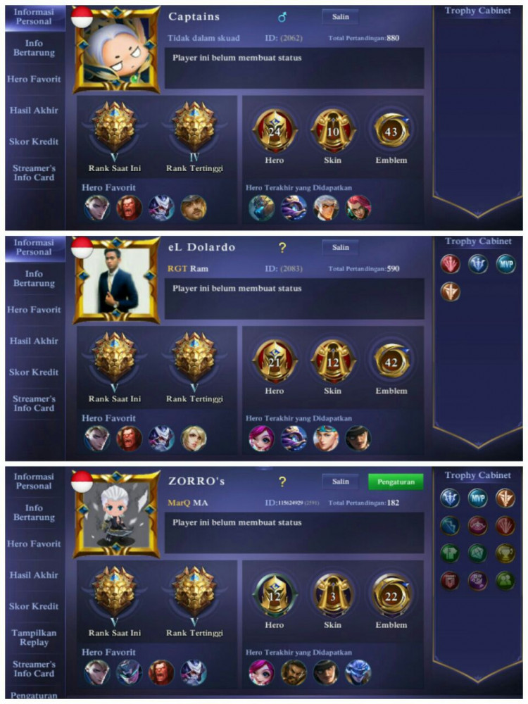 3 Akun Legend