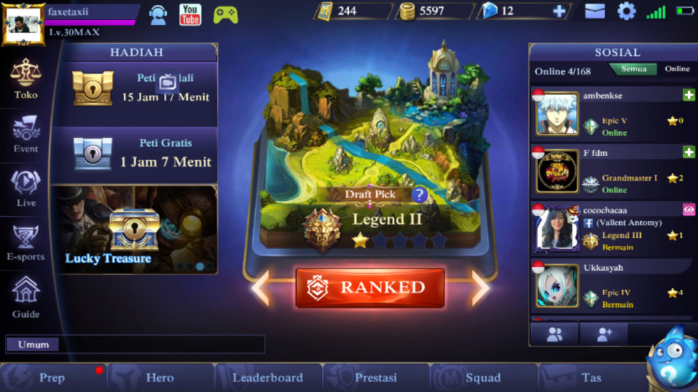Akun lvl 30/win rate 60%/ legend 2*2 murah