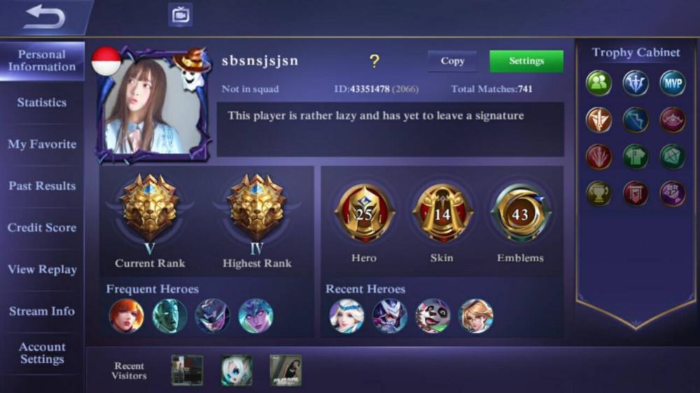 Tier Legend, 14 Skin 25 Hero, Winrate GG, Murah