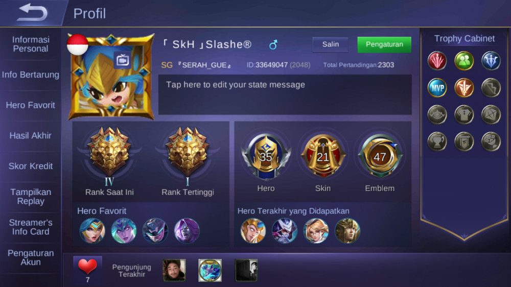 Lv 30 | 35 Hero + 21 Skin (All unbind Langkah)