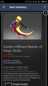 Inscribed Golden Offhand Basher of Mage Skulls (Immortal Anti-Mage)