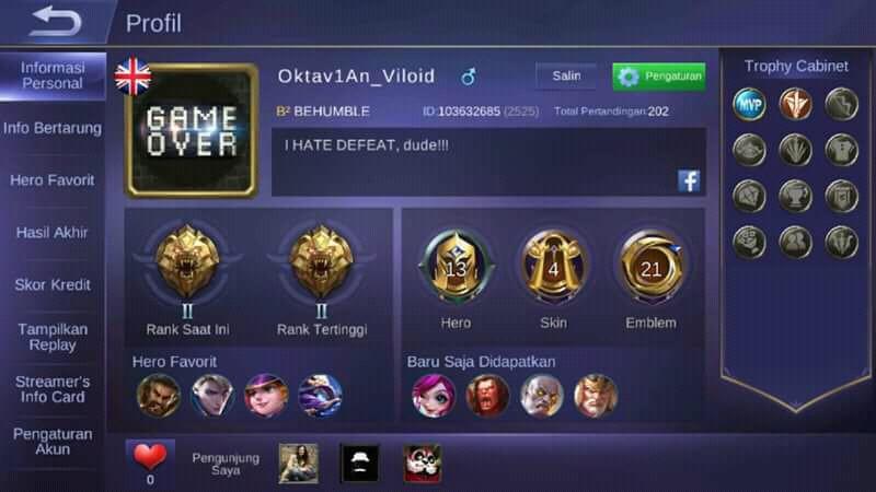 Akun ML murah Level 20 13 hero 5 skin