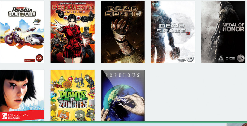 Origin, Battlefield 3, Dead Space, dll.