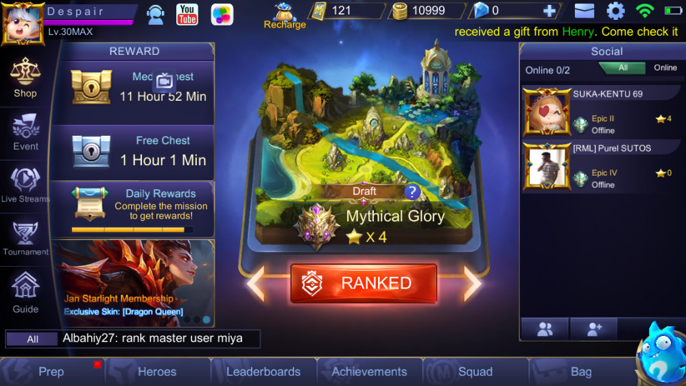 Jual Akun Myth glory x4 Season 7
