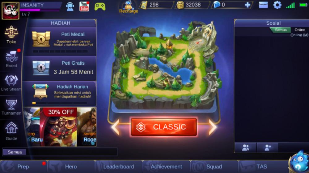 Akun Baru/Smurf Mobile Legends 32.000 BP, 1x Savag