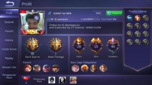 Akun pribadi Tier legend 3 , skin 15 hero 27