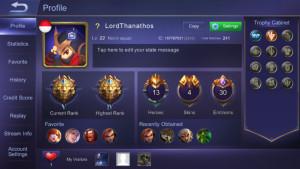 Akun mobile legend rank legend V 70%