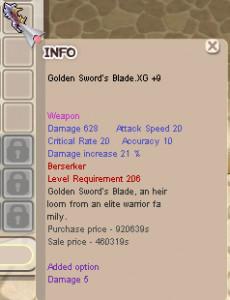 Golden Sword's Blade.XG+9(Weapon 20x Zerk)