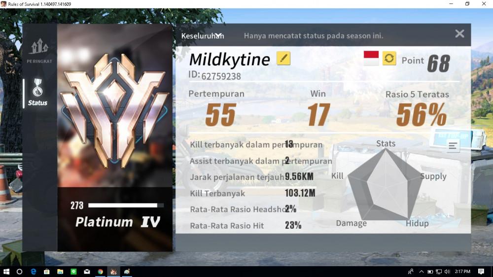 Akun Ros (PC) Platinum IV WR 56% Server Asia