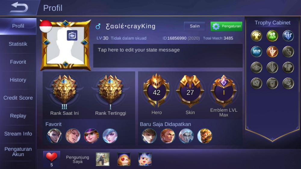 Hero 42|skin27|Fragmen 196|Pribadi!|Legend III|