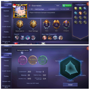 Legend5|Hero36|Skin25|Emblem Lv58 Mantap