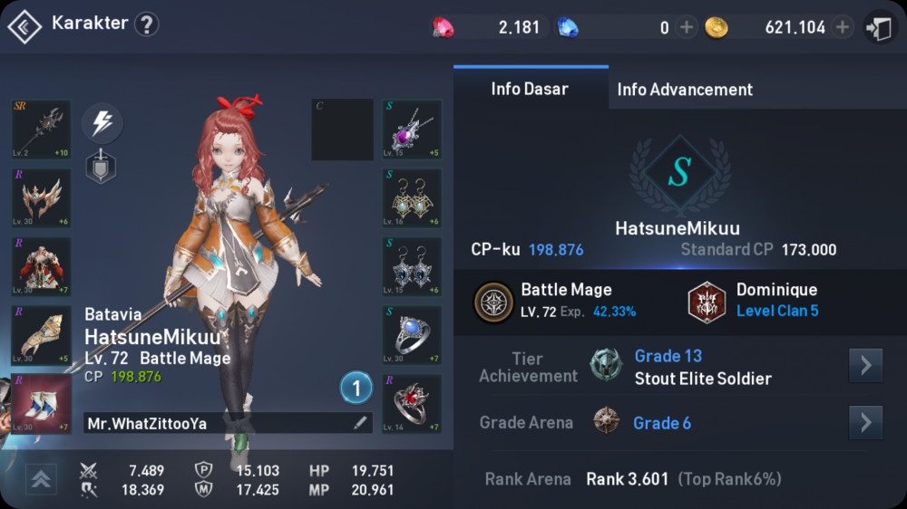 BattleMage Lv 72 CP 198.700 server batavia