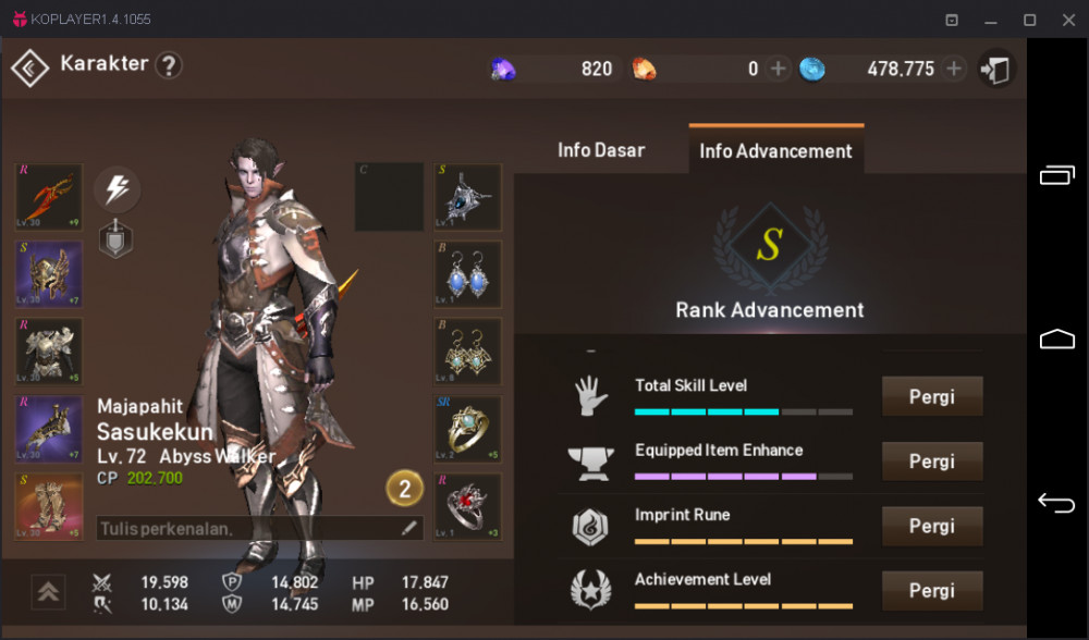 Akun lineage 2 class Abyss Walker perfect build gg
