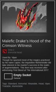 Malefic Drake's Hood of the Crimson Witness (Immortal Viper)