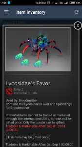 Lycosidaes Favor (Immortal TI7 Broodmother)