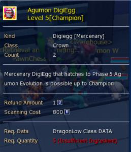 Agumon Digiegg (Champion) level 5