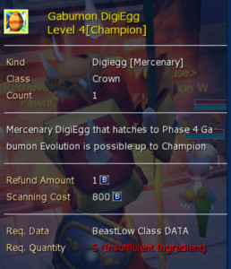 Gabumon Digiegg (Ultimate & Champion) level 4