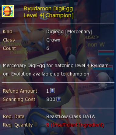 Ryuudramon Digiegg (Champion & Ultimate) level 4