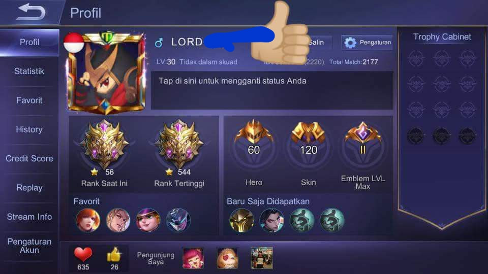 Hero 60-Skin 120{2Legend+2Epic Limit}Otw 3 Legend