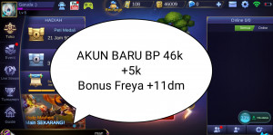 AKUN BARU BP 46+5K ALL 50K , BELUM EPIC HERO DEFAULT