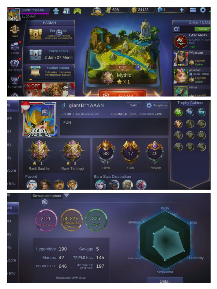 Akun Mythic | Hero 38 | Skin 17 | Savage 5