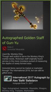 Autographed Golden Staff of Gun-Yu (Immortal MK)