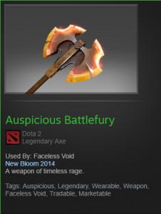 Auspicious Battlefury (Faceless Void)