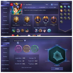 Akun GG Starlight5 Emblem Max2 Hero43 Skin39
