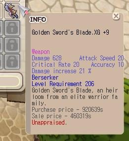 (W Berserker 2xx) Golden Sword's Blade XG+9 Unapp