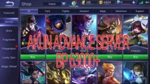 Akun Advance Server BP 65K #Hero#Epic#Sultan