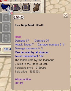 Blue Ninja Mask XG +10 hp4%