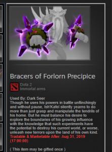 Bracers of Forlorn Precipice Imo dark seer TI8