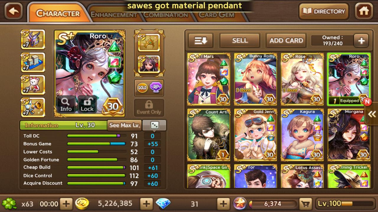 Roro + Gold Jenny + Kagura + Morgana dkk