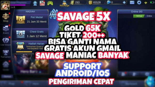 BP 65000. Savage 3x. Hero Default. Cocok Buat Sultan