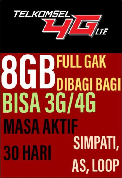 Paket Data Telkomsel Full 8GB