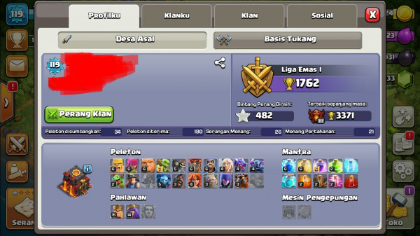 Town hall 10 pertengahan + clan 9