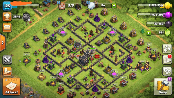 Clash of clans townhall 9 supermax aman mantap