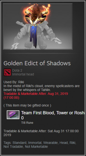 Golden Edict of Shadows (Immortal TI8 Rikimaru)