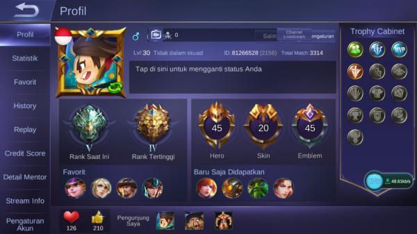45 HERO + 20 SKIN ( ALLUNBIND MANTAP BOSKU )