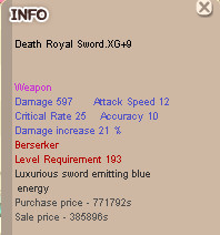 Death Royal Sword XG ( DRS ) XG +9