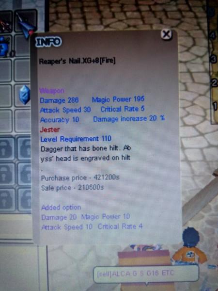 Reaper's Nail XG+8 [FIRE] ASPD 10 MPW 10 ATK 10