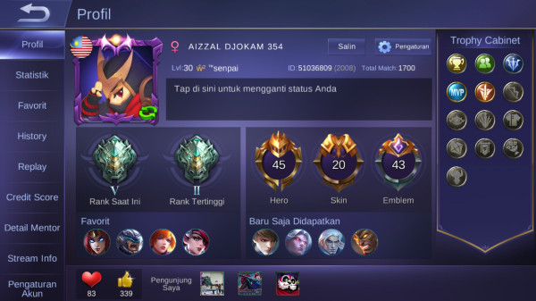 TIER EPIC V MURAH HERO 45 / SKIN 20