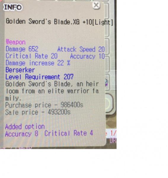 Zerk Weapon XG+10 lvl 200+