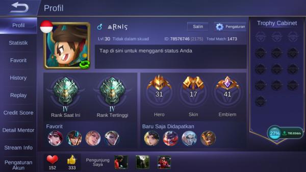 Akun Mobile Legend lvl30Max Hero31 Skin17 AllUnbind