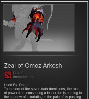 Zeal of Omoz Arkosh (Immortal TI8 Doom)