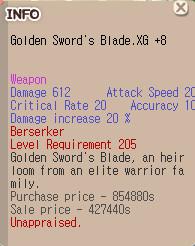 Golden Sword's Blade.XG+8 Weapon Zerk 20x