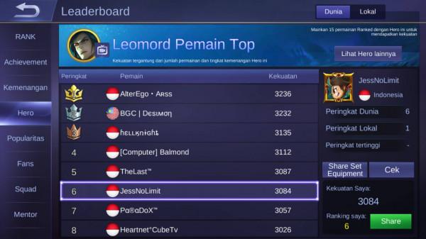 Akun TOP 10 GLOBAL LEOMORD/SUBSCRIBER 7000