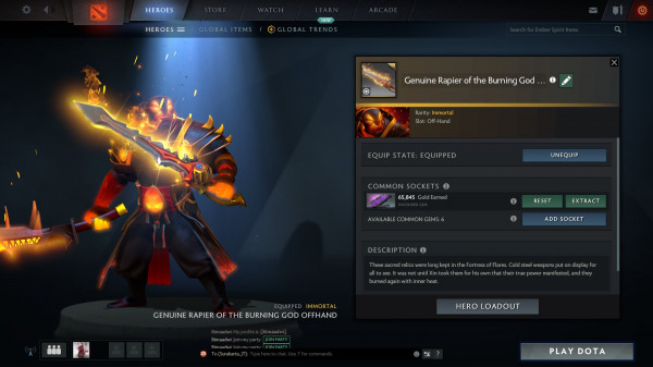Genuine Rapier of the Burning God Offhand (Ember Spirit)