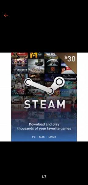 Steam wallet USD 30$