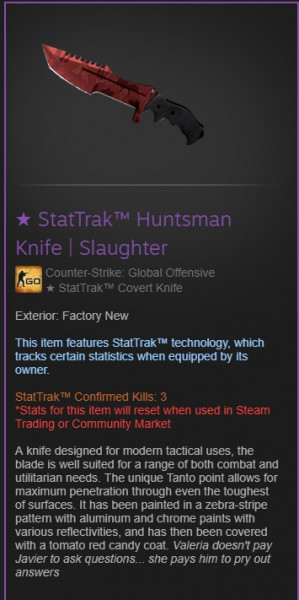 ★ StatTrak™ Huntsman Knife | Blue Steel (★ StatTrak™ Covert Knife)